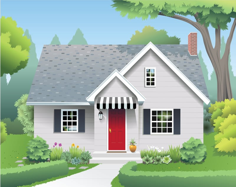 Small House with Red Door and Shade Tree